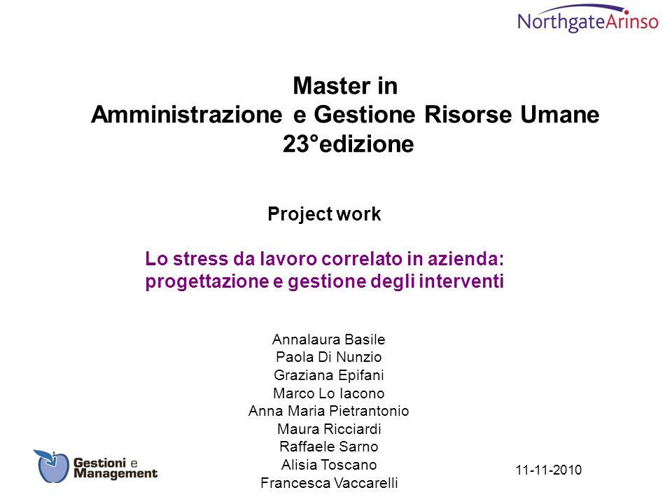 Master in Amministrazione e Gestione Risorse Umane 23°edizione Project work Lo stress da lavoro correlato in azienda: progettazione e gestione degli i