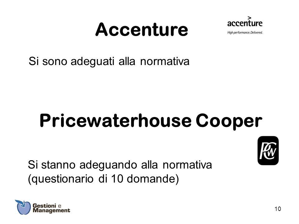 Accenture Si sono adeguati alla normativa Pricewaterhouse Cooper Si stanno adeguando alla normativa (questionario di 10 domande) 10