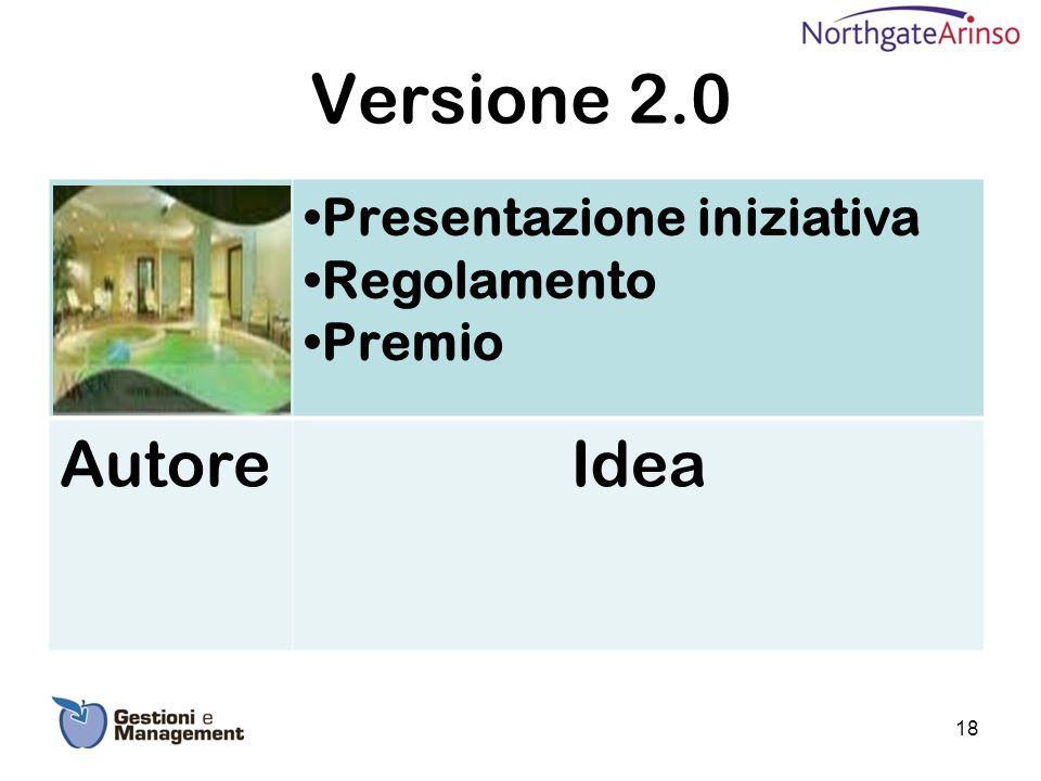 Versione 2.0 Presentazione iniziativa Regolamento Premio AutoreIdea 18