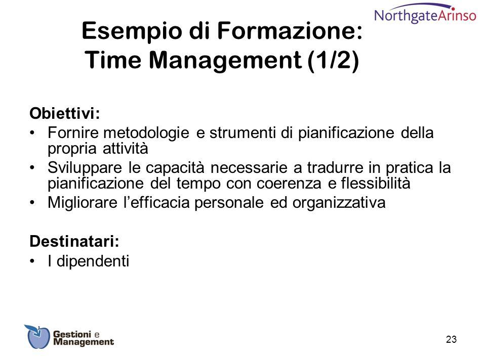Esempio di Formazione: Time Management (1/2) Obiettivi: Fornire metodologie e strumenti di pianificazione della propria attività Sviluppare le capacit