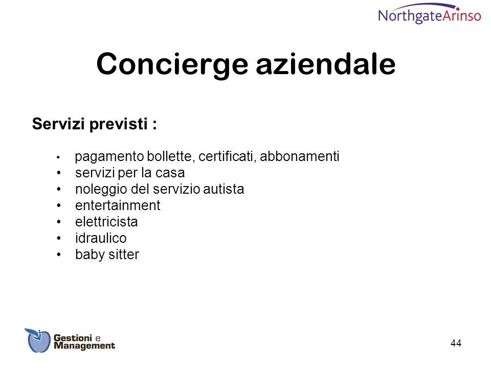 Concierge aziendale Servizi previsti : pagamento bollette, certificati, abbonamenti servizi per la casa noleggio del servizio autista entertainment el