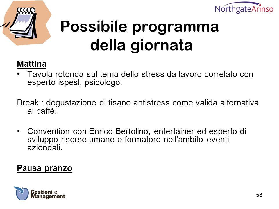 Possibile programma della giornata Mattina Tavola rotonda sul tema dello stress da lavoro correlato con esperto ispesl, psicologo. Break : degustazion