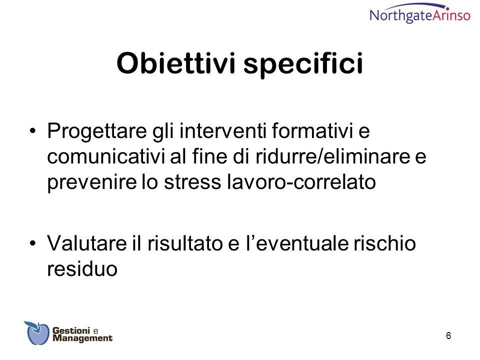 Obiettivi specifici Progettare gli interventi formativi e comunicativi al fine di ridurre/eliminare e prevenire lo stress lavoro-correlato Valutare il