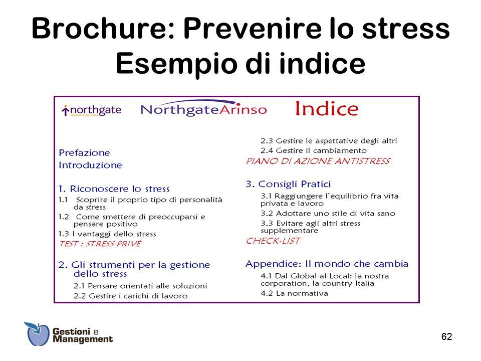 Brochure: Prevenire lo stress Esempio di indice 62