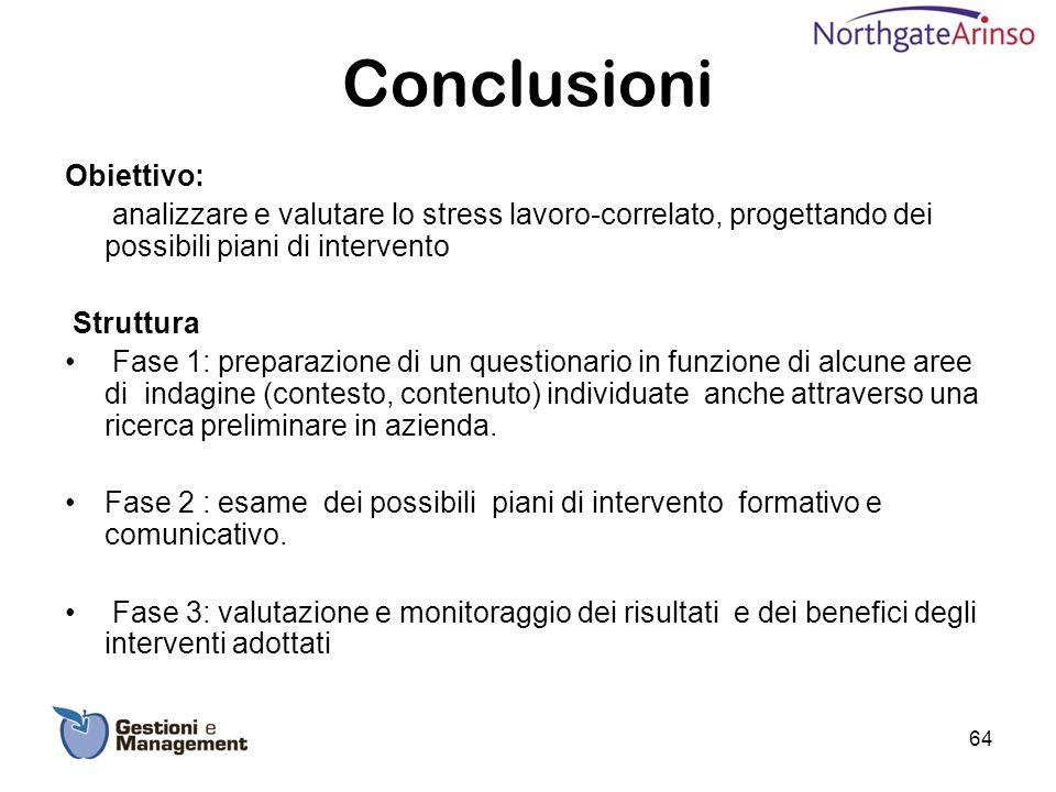Conclusioni Obiettivo: analizzare e valutare lo stress lavoro-correlato, progettando dei possibili piani di intervento Struttura Fase 1: preparazione