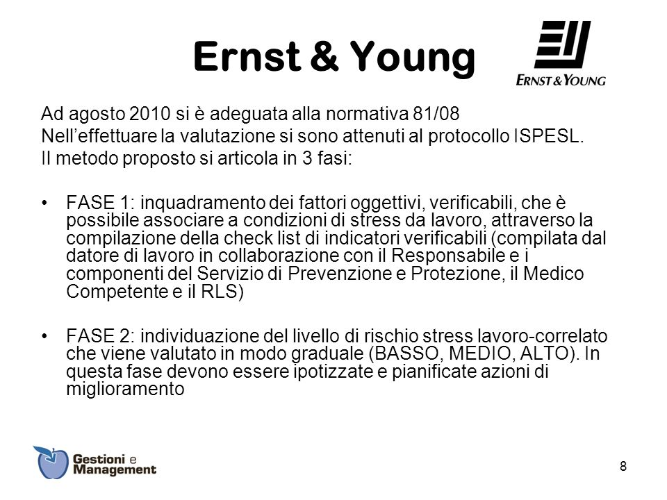 Ernst & Young Ad agosto 2010 si è adeguata alla normativa 81/08 Nelleffettuare la valutazione si sono attenuti al protocollo ISPESL. Il metodo propost