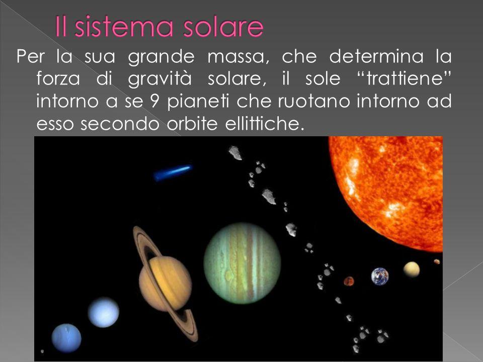 Per la sua grande massa, che determina la forza di gravità solare, il sole trattiene intorno a se 9 pianeti che ruotano intorno ad esso secondo orbite