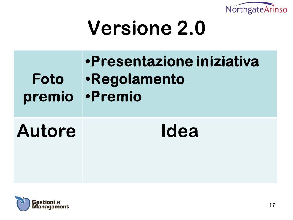 Versione 2.0 Foto premio Presentazione iniziativa Regolamento Premio AutoreIdea 17