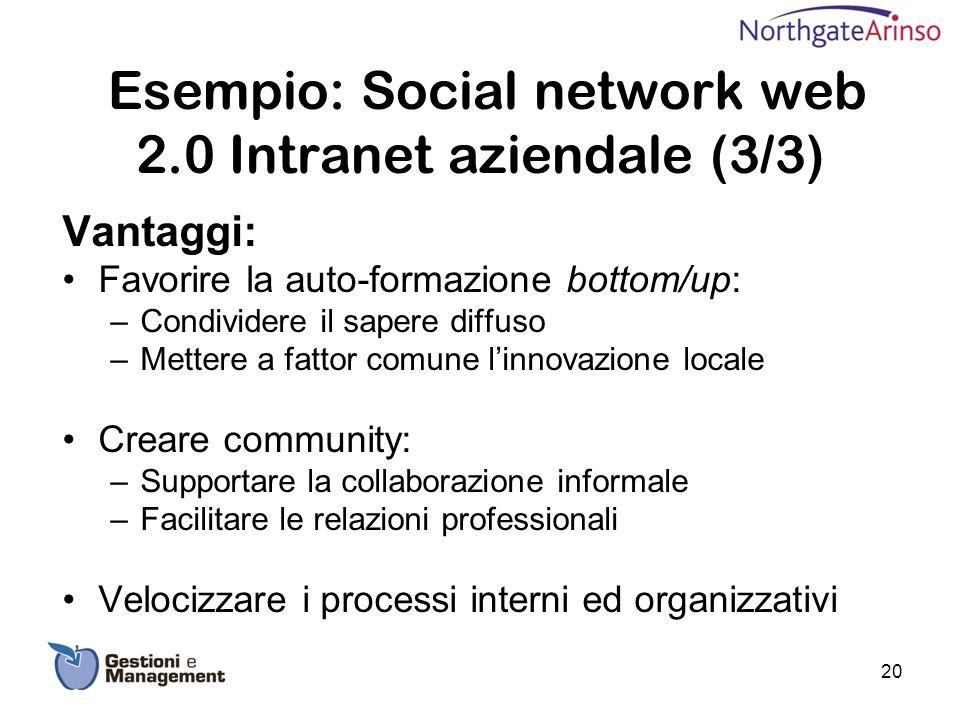 Esempio: Social network web 2.0 Intranet aziendale (3/3) Vantaggi: Favorire la auto-formazione bottom/up: –Condividere il sapere diffuso –Mettere a fa