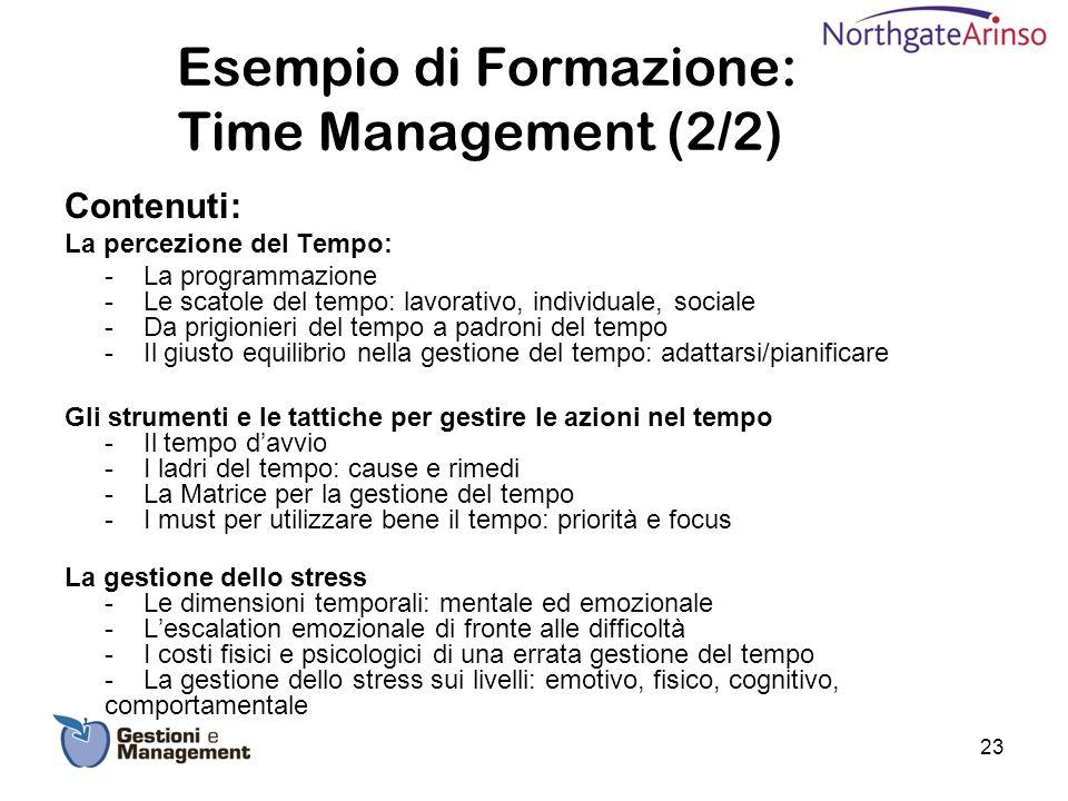 Esempio di Formazione: Time Management (2/2) Contenuti: La percezione del Tempo: - La programmazione - Le scatole del tempo: lavorativo, individuale,