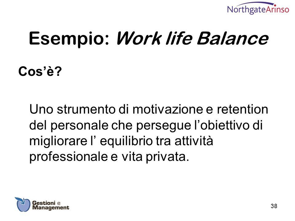 Esempio: Work life Balance Cosè? Uno strumento di motivazione e retention del personale che persegue lobiettivo di migliorare l equilibrio tra attivit