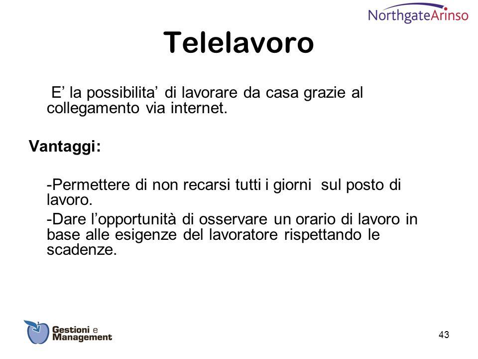 Telelavoro E la possibilita di lavorare da casa grazie al collegamento via internet. Vantaggi: -Permettere di non recarsi tutti i giorni sul posto di