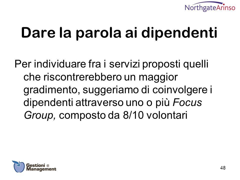 Dare la parola ai dipendenti Per individuare fra i servizi proposti quelli che riscontrerebbero un maggior gradimento, suggeriamo di coinvolgere i dip