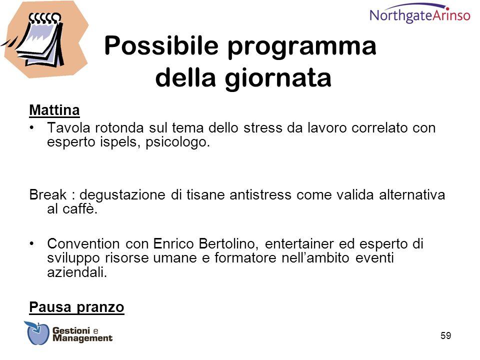 Possibile programma della giornata Mattina Tavola rotonda sul tema dello stress da lavoro correlato con esperto ispels, psicologo. Break : degustazion