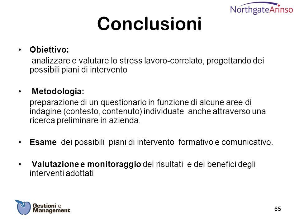Conclusioni Obiettivo: analizzare e valutare lo stress lavoro-correlato, progettando dei possibili piani di intervento Metodologia: preparazione di un