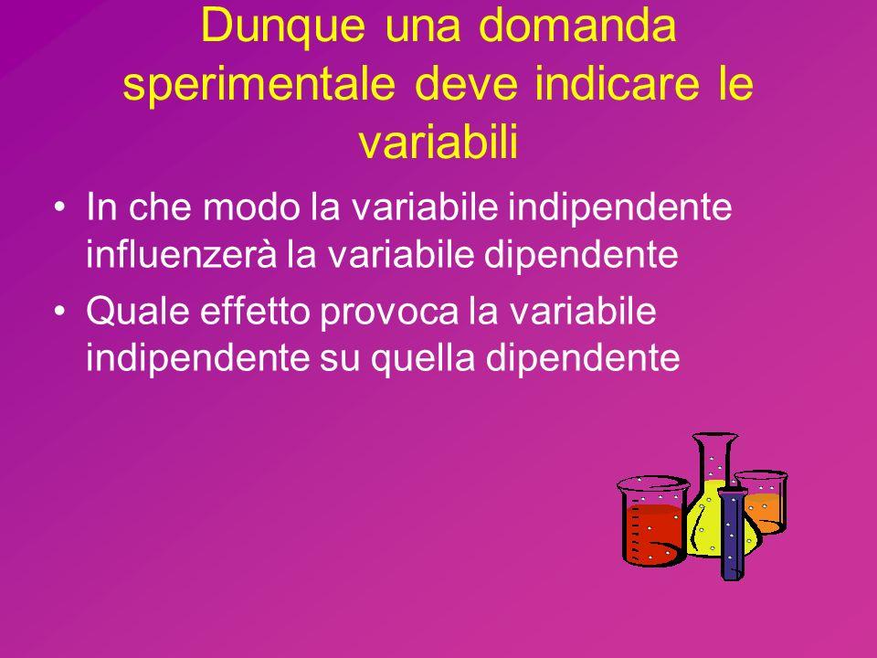 Dunque una domanda sperimentale deve indicare le variabili In che modo la variabile indipendente influenzerà la variabile dipendente Quale effetto provoca la variabile indipendente su quella dipendente