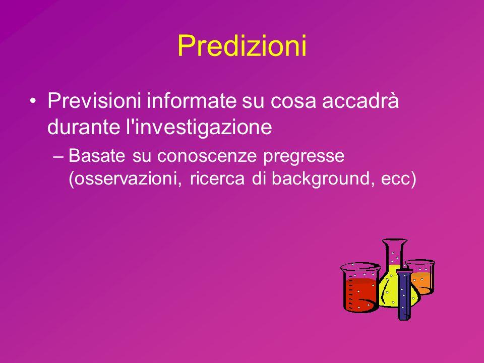 Predizioni Previsioni informate su cosa accadrà durante l investigazione –Basate su conoscenze pregresse (osservazioni, ricerca di background, ecc)