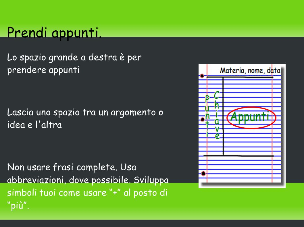 Prendi appunti. Lo spazio grande a destra è per prendere appunti Lascia uno spazio tra un argomento o idea e l'altra Non usare frasi complete. Usa abb