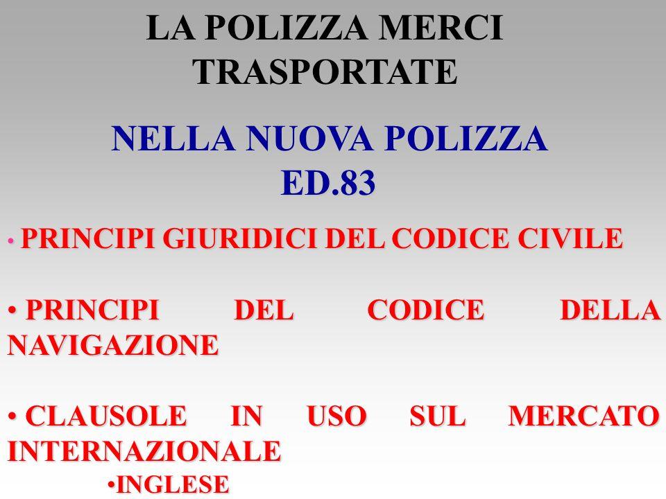 POLIZZA MERCI TRASPORTATE POLIZZA MERCI TRASPORTATE RESPONSABILITA CIVILE DEL VETTORE