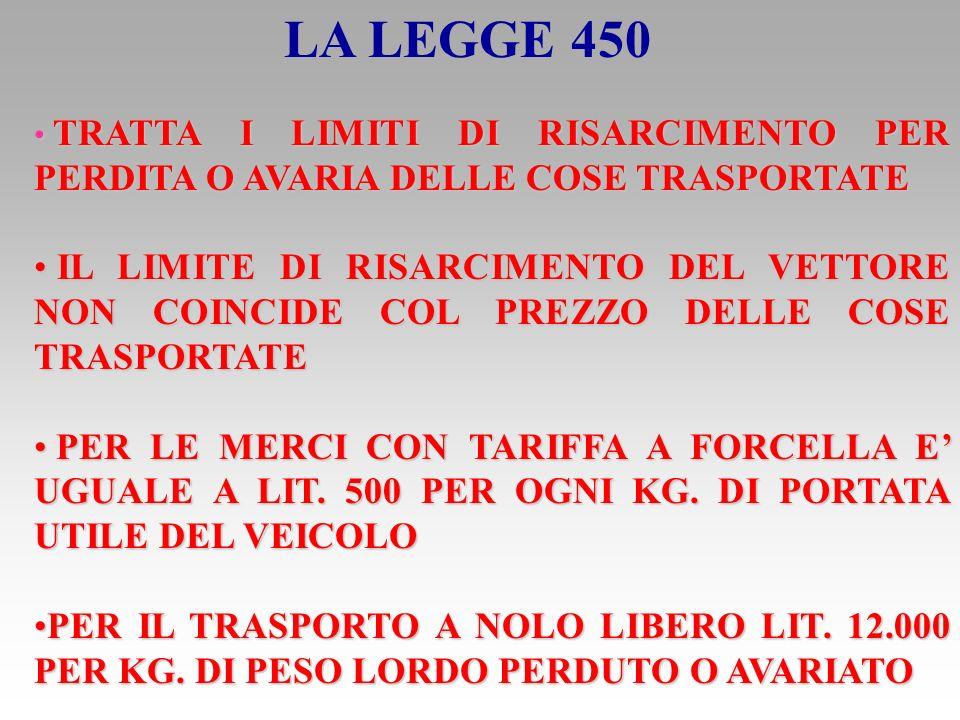 LA RESPONSABILITA CIVILE DEL VETTORE LEGGE 6/6/1974 N.