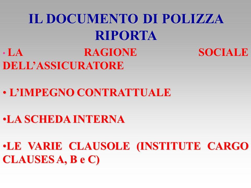 LA NUOVA POLIZZA E COSTITUITA DA CONDIZIONI GENERALI CONDIZIONI GENERALI APPOSITI CLAUSOLARI PER LA DEFINIZIONE DEI RISCHI ASSICURATI APPOSITI CLAUSOLARI PER LA DEFINIZIONE DEI RISCHI ASSICURATI CLAUSOLE ADDIZIONALI CLAUSOLE ADDIZIONALI