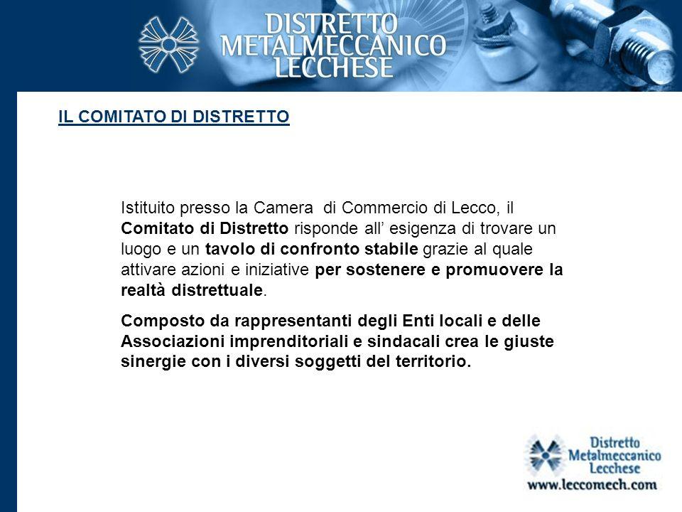 IL COMITATO DI DISTRETTO Istituito presso la Camera di Commercio di Lecco, il Comitato di Distretto risponde all esigenza di trovare un luogo e un tav