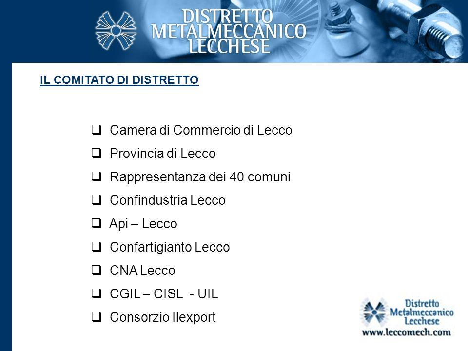 Camera di Commercio di Lecco Provincia di Lecco Rappresentanza dei 40 comuni Confindustria Lecco Api – Lecco Confartigianto Lecco CNA Lecco CGIL – CIS