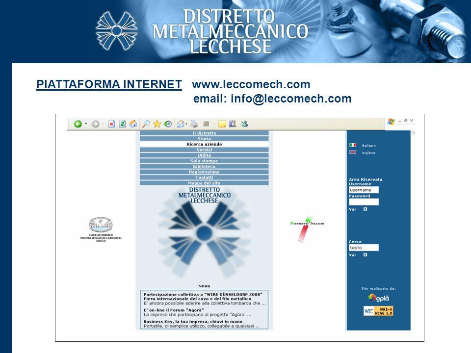 PIATTAFORMA INTERNET www.leccomech.com email: info@leccomech.com