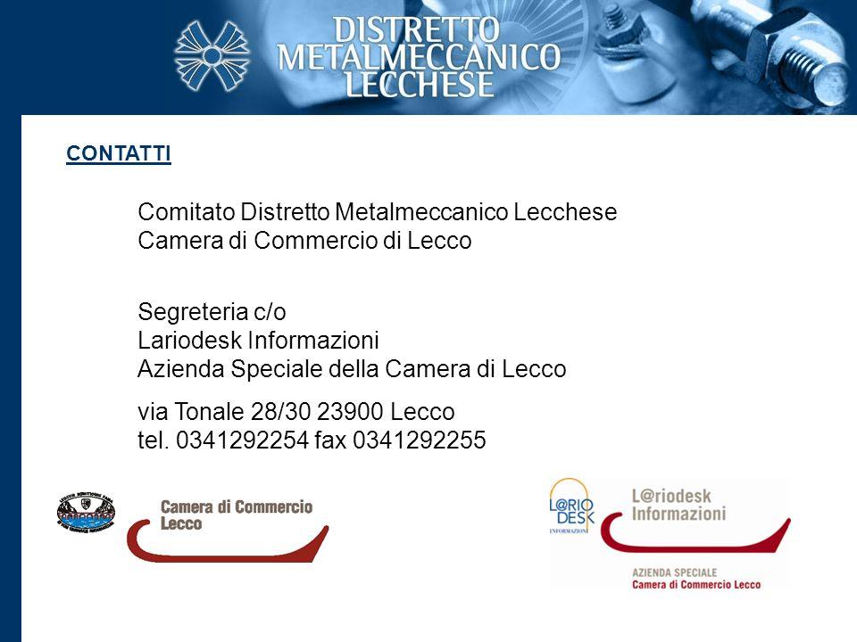 Comitato Distretto Metalmeccanico Lecchese Camera di Commercio di Lecco Segreteria c/o Lariodesk Informazioni Azienda Speciale della Camera di Lecco v