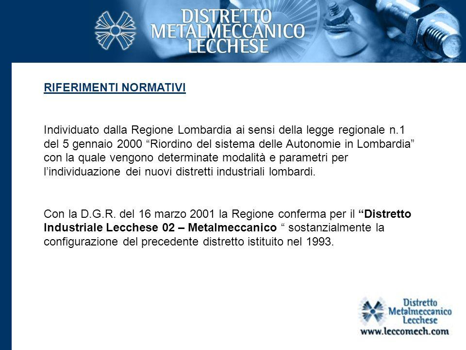 IL TERRITORIO Il distretto si estende su una superficie di 310 kmq e comprende 40 comuni: 28 comuni della provincia di Lecco; 7 della provincia di Como; 4 di quella di Milano, e uno dei quella di Bergamo, con una popolazione residente al 31.12.2007 di 219.147.