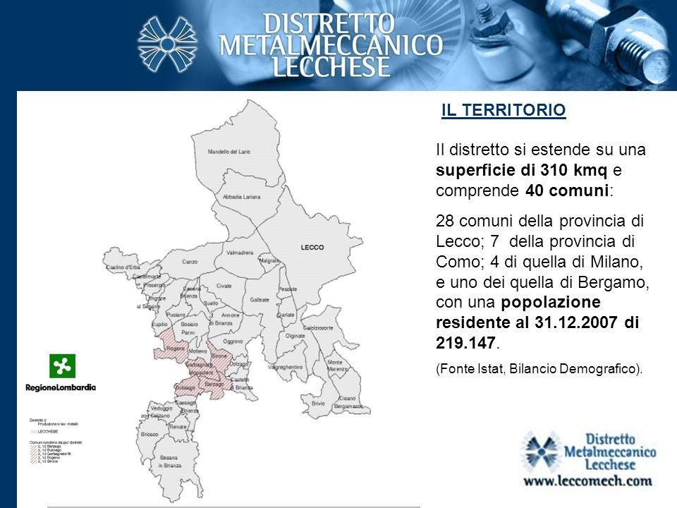 IL TERRITORIO Il distretto si estende su una superficie di 310 kmq e comprende 40 comuni: 28 comuni della provincia di Lecco; 7 della provincia di Com