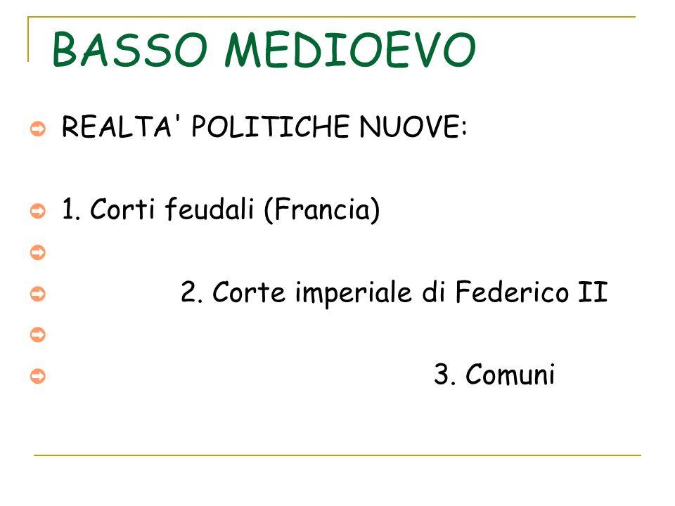 BASSO MEDIOEVO REALTA' POLITICHE NUOVE: 1. Corti feudali (Francia) 2. Corte imperiale di Federico II 3. Comuni