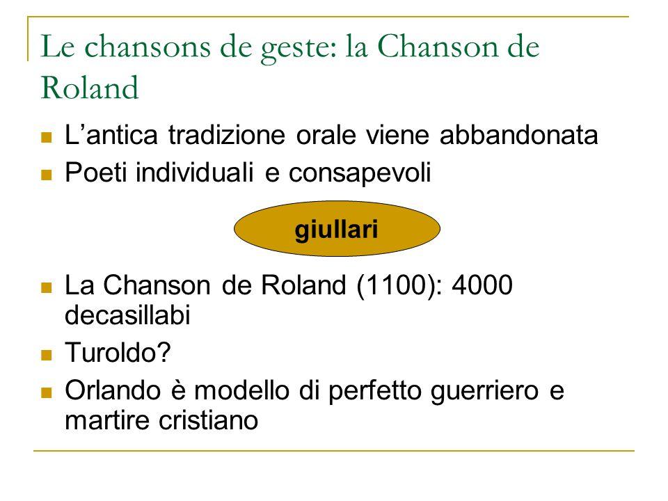 Le chansons de geste: la Chanson de Roland Lantica tradizione orale viene abbandonata Poeti individuali e consapevoli La Chanson de Roland (1100): 400