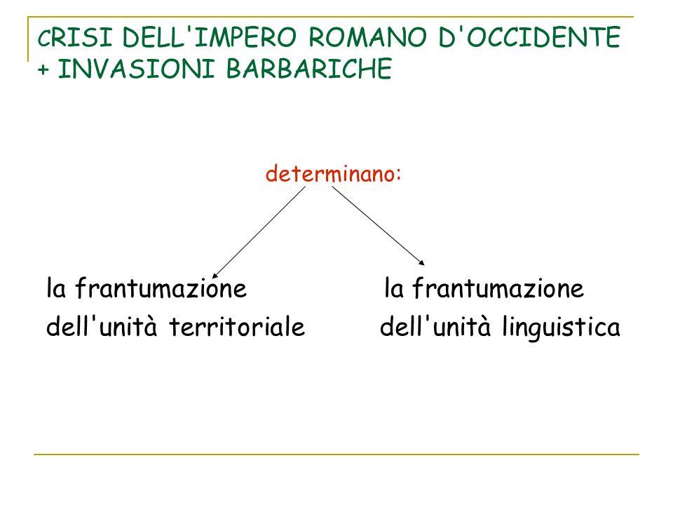 C RISI DELL'IMPERO ROMANO D'OCCIDENTE + INVASIONI BARBARICHE determinano: la frantumazione la frantumazione dell'unità territoriale dell'unità linguis