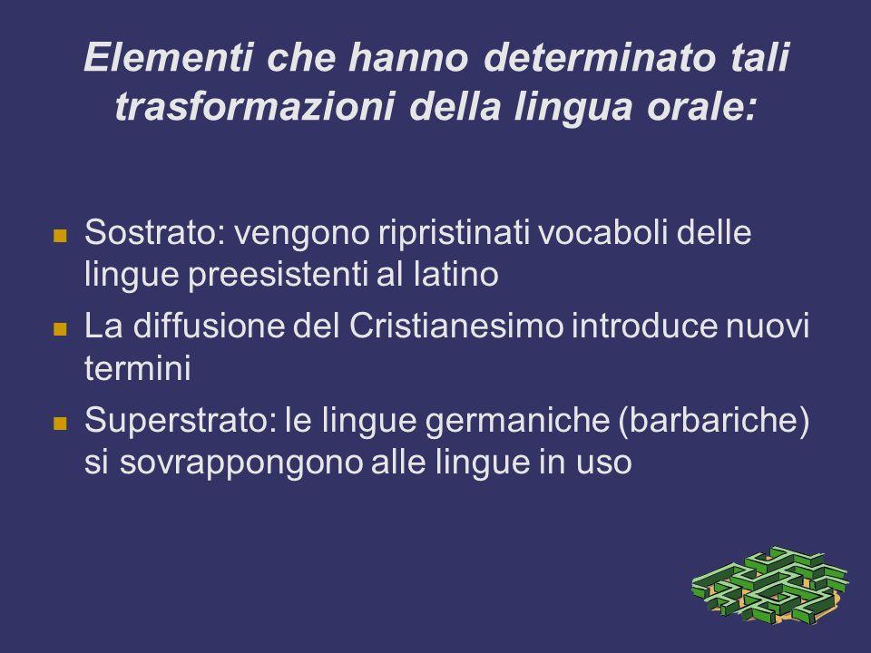 Elementi che hanno determinato tali trasformazioni della lingua orale: Sostrato: vengono ripristinati vocaboli delle lingue preesistenti al latino La