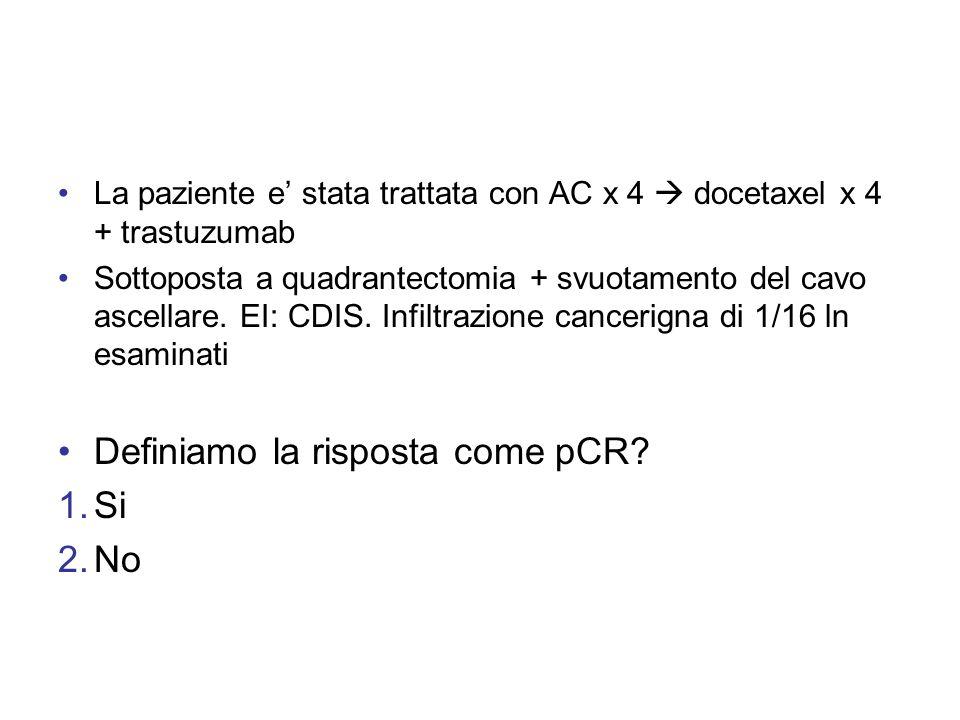 La paziente e stata trattata con AC x 4 docetaxel x 4 + trastuzumab Sottoposta a quadrantectomia + svuotamento del cavo ascellare. EI: CDIS. Infiltraz