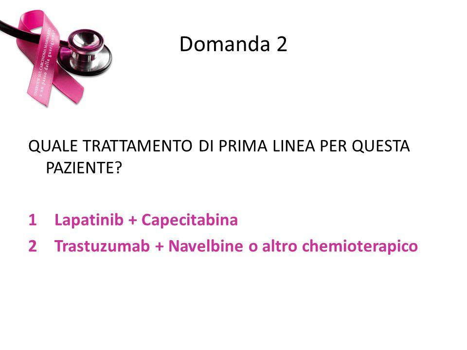 Domanda 2 QUALE TRATTAMENTO DI PRIMA LINEA PER QUESTA PAZIENTE? 1Lapatinib + Capecitabina 2Trastuzumab + Navelbine o altro chemioterapico