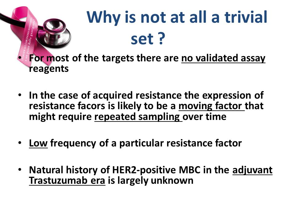 Why is not at all a trivial set ? For most of the targets there are no validated assay reagents In the case of acquired resistance the expression of r