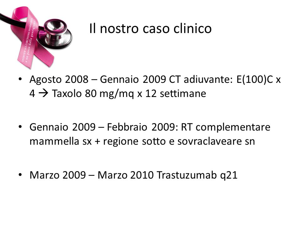 Il nostro caso clinico Agosto 2008 – Gennaio 2009 CT adiuvante: E(100)C x 4 Taxolo 80 mg/mq x 12 settimane Gennaio 2009 – Febbraio 2009: RT complement
