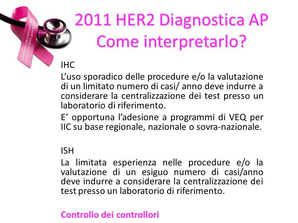 IHC Luso sporadico delle procedure e/o la valutazione di un limitato numero di casi/ anno deve indurre a considerare la centralizzazione dei test presso un laboratorio di riferimento.