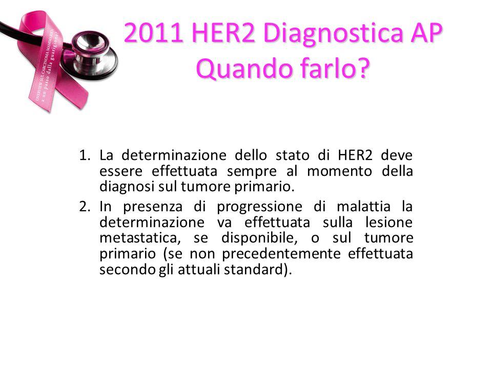 1.La determinazione dello stato di HER2 deve essere effettuata sempre al momento della diagnosi sul tumore primario.