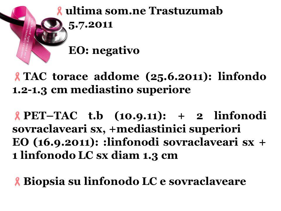 ultima som.ne Trastuzumab 5.7.2011 EO: negativo TAC torace addome (25.6.2011): linfondo 1.2-1.3 cm mediastino superiore PET–TAC t.b (10.9.11): + 2 lin