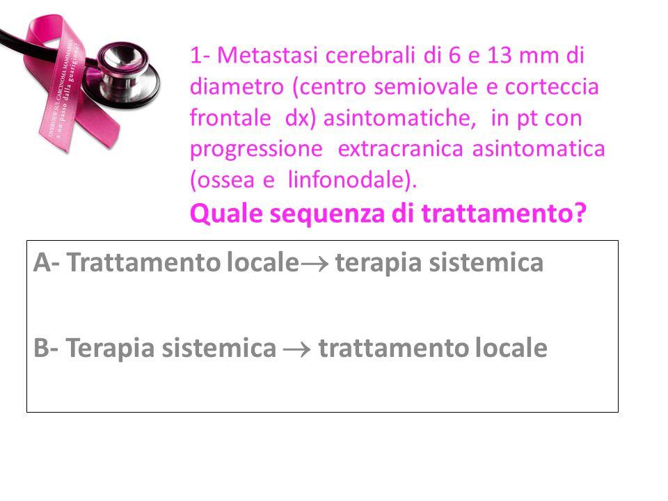 Dicembre 2010 RT stereotassica su entrambe le lesioni (dose di riferimento:18 Gy)