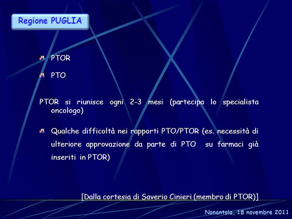 Nonantola, 18 novembre 2011 Regione PUGLIA PTOR PTO PTOR si riunisce ogni 2-3 mesi (partecipa lo specialista oncologo) Qualche difficoltà nei rapporti