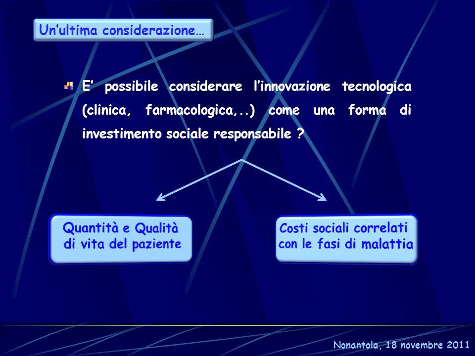 E possibile considerare linnovazione tecnologica (clinica, farmacologica,..) come una forma di investimento sociale responsabile ? Nonantola, 18 novem