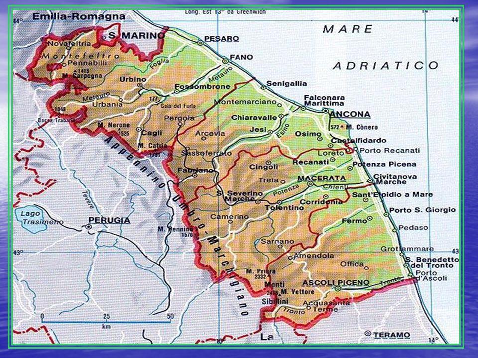 POSIZIONE GEOGRAFICA E CONFINI: confina con Emilia Romagna, Toscana, Umbria, Lazio, Abruzzo e Mar Adriatico.