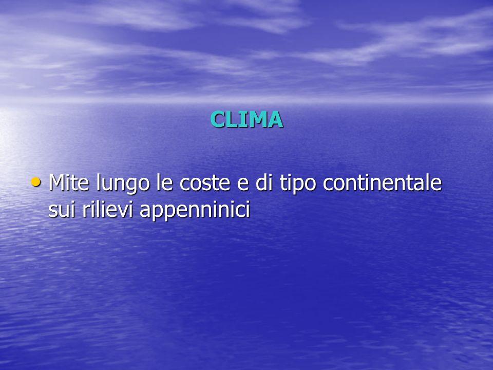 CLIMA Mite lungo le coste e di tipo continentale sui rilievi appenninici Mite lungo le coste e di tipo continentale sui rilievi appenninici