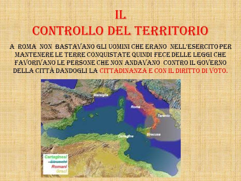 Il controllo del territorio A Roma non bastavano gli uomini che erano nelLesercito per mantenere le terre conquistate quindi fece delle leggi che favo