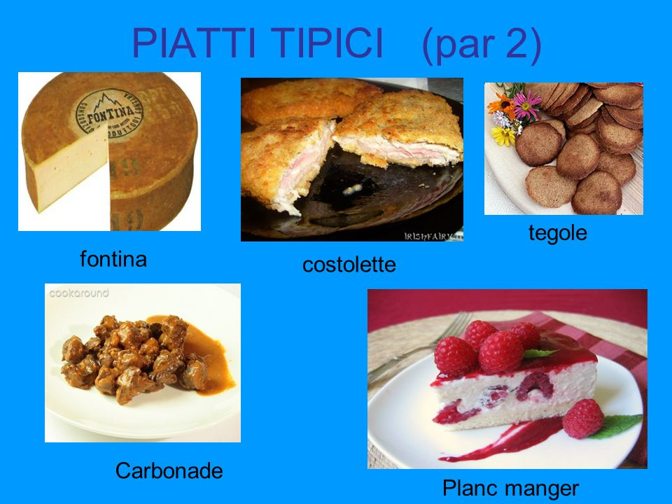 PIATTI TIPICI (par 2) fontina Planc manger tegole costolette Carbonade