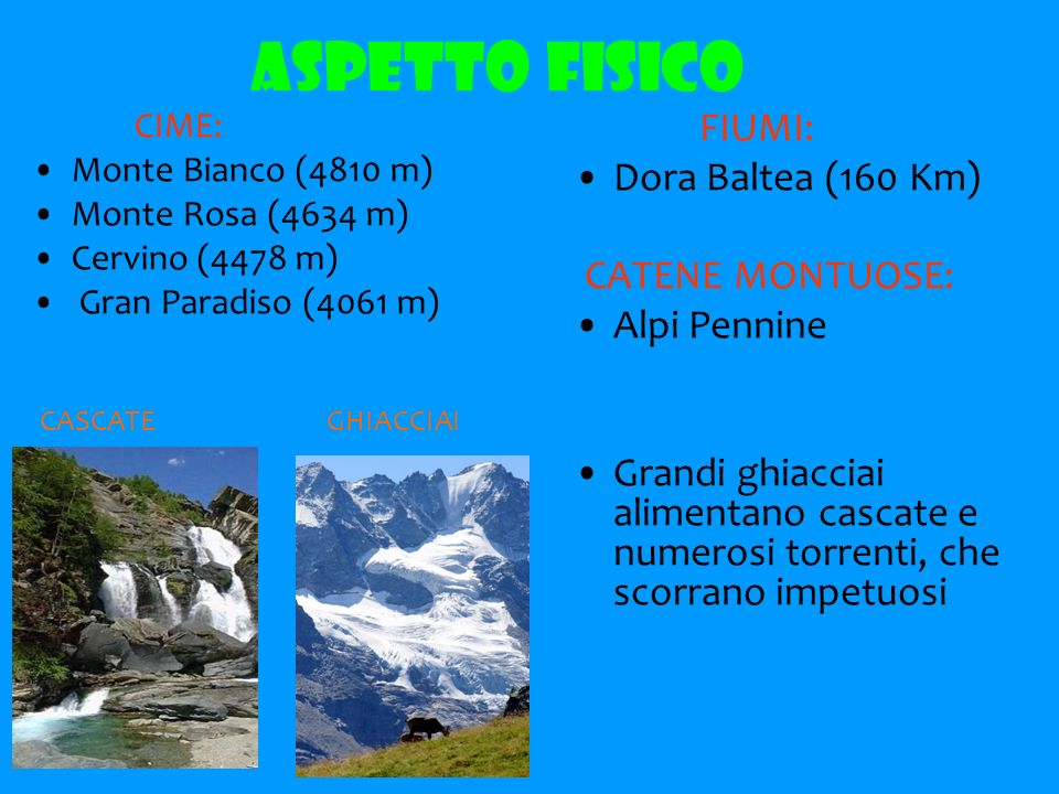 ASPETTO FISICO CIME: Monte Bianco (4810 m) Monte Rosa (4634 m) Cervino (4478 m) Gran Paradiso (4061 m) FIUMI: Dora Baltea (160 Km) CATENE MONTUOSE: Alpi Pennine Grandi ghiacciai alimentano cascate e numerosi torrenti, che scorrano impetuosi CASCATE GHIACCIAI